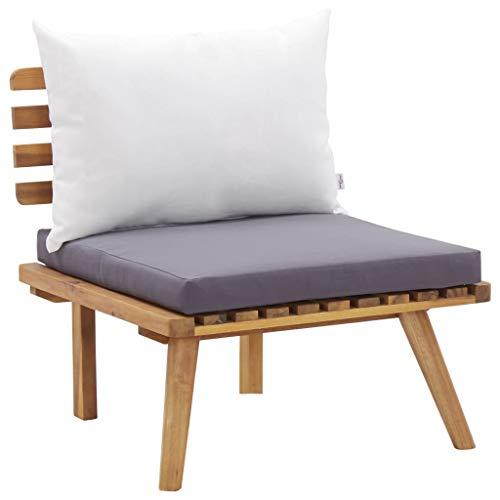 vidaXL Bois d'Acacia Massif Chaise de Jardin avec Coussins Chaise de Patio Chaise de Terrasse Chaise d'Extérieur Siège d'Extérieur