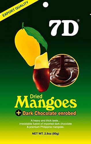7D Dried Mangoes Dark Chocolate Enrobed Premium Philippine Cebu Mango - Pack of 5 x 80g (400G)