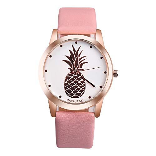 Koedu Reloj de piña para Mujer, Reloj de Esfera Blanca, Chica Adolescente, Reloj de Cuero. Size One Size (Pink)
