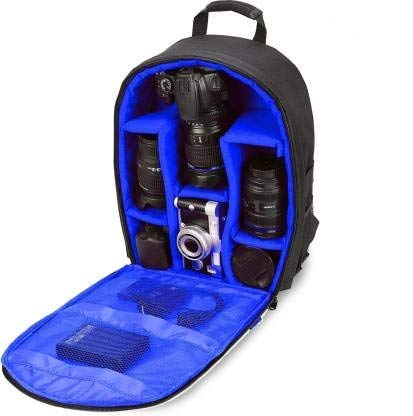 GOD BOY Waterproof DSLR Backpack Camera Bag, Lens Accessories Carry Case for Nikon, Canon, Olympus, Pentax and More (Blue)