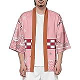 Kimetsu no Yaiba Anime Hombres Playa Cover Ups Mujeres Playa Chal Estampado Unisex Verano Casual Camisa Rosa XS