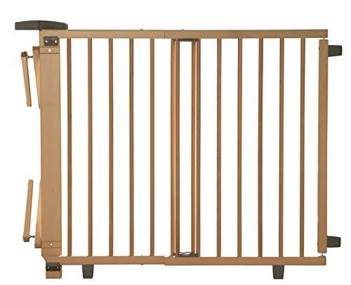 Geuther Treppenschutzgitter für Baby, Kinder und Hund, Absperrgitter für Treppe in Holz, natur, 95 - 135 cm, Schutzgitter für Treppen zum klemmen und bohren 2735+ NA