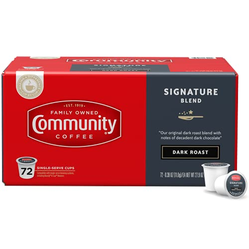 Community Coffee Signature Blend 72 Count Coffee Pods, Dark Roast, Compatible with Keurig 2.0 K-Cup Brewers, Box of 72 Pods
