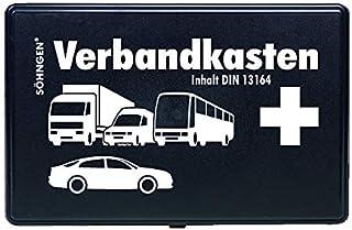 Söhngen KFZ Verbandskasten (mit Füllung, schwarz, Koffer aus ABS Kunststoff) 260x160x80 mm, 3004002
