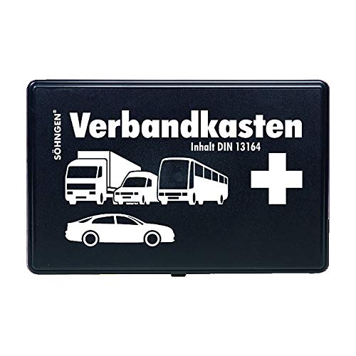 *Söhngen KFZ Verbandskasten (mit Füllung, schwarz, Koffer aus ABS Kunststoff) 260x160x80 mm, 3004002*