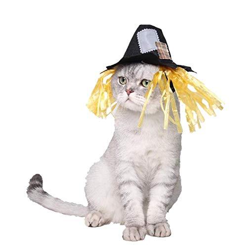 LLSS Gato Perro Sombrero Mascota Halloween espantapjaros Gato Sombreros Cachorro Perrito Gatito Diadema Collar de Halloween Accesorio de Disfraz de Halloween