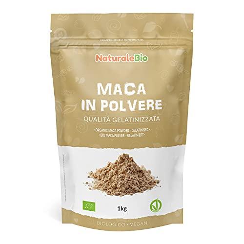 Maca Pulver Bio 1kg. Natürlich und Rein, hergestellt in Peru aus Bio Maca Gelatiniert. Wurzel. NaturaleBio