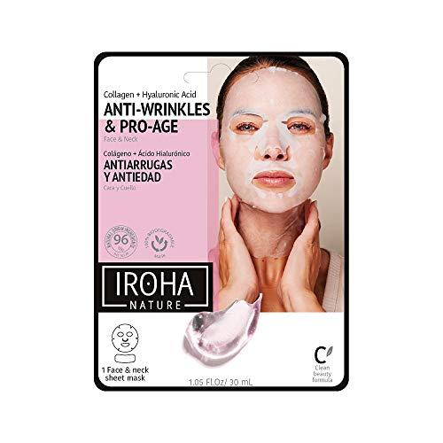 Iroha Nature - Mascarilla Cara y Cuello de Tisú con Colágeno, 1 unidad | Mascarilla Tissue Colágeno y Ácido Hialurónico