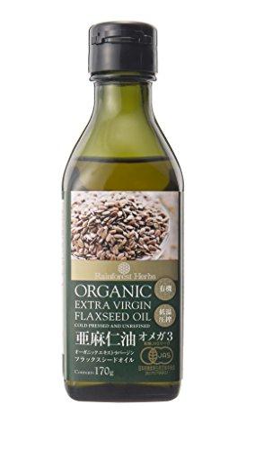 JASオーガニック認定 エキストラ バージン フラックスシードオイル 有機 亜麻仁油 170g 1本 organic extra ...