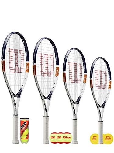 Wilson Roland Garros Junior - Raqueta de tenis + 3 pelotas de tenis (48,2 cm, 53,4 cm, 63,5 cm y 66 cm) (43,1 cm y bolas de espuma)