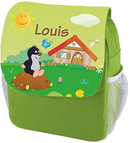 Mein Zwergenland Kindergartenrucksack Happy Knirps Next Print mit Name Maulwurf, 6L, Grün