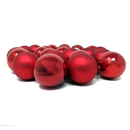 ToCi Mini Weihnachtskugeln Rot aus Glas | 24er Set mit Christbaumkugeln Ø2,5cm | Deko Weihnachten Christbaumschmuck Baumschmuck Anhänger | schöne kleine Kugeln glänzend und matt