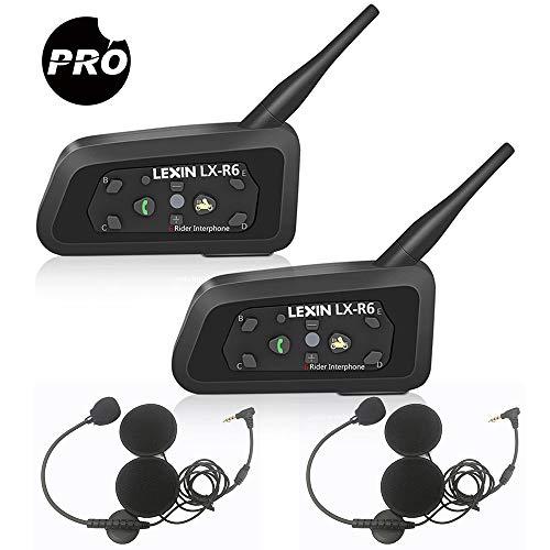 LEXIN 2X Pro R6 Auriculares Intercomunicador Moto Bluetooth, intercomunicador Casco Moto, Comunicación Intercom cancelación de Ruido, Manos Libres para Moto ATV, comunicador Moto hasta 6 Jinetes