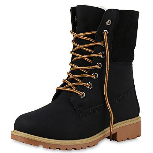 SCARPE VITA Warm Gefütterte Damen Boots Outdoor Stiefel Stiefeletten 165405 Schwarz 39