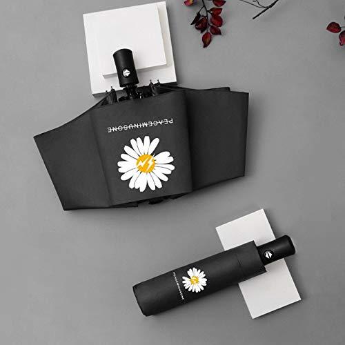 Mini cinco pliegues sol, lluvia y sol paraguas bolsa paraguas negro pegamento, protección solar y protección UV mujeres paraguas plegable - Automático - Negro