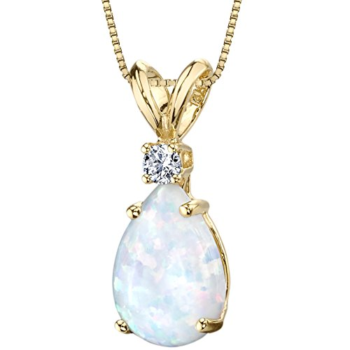 Peora Created White Opal with Genuine Diamond Pendant in 14K Yellow Gold, Elegant Teardrop Solitaire, Pear Shape, 10x7mm, 1 Carat total
