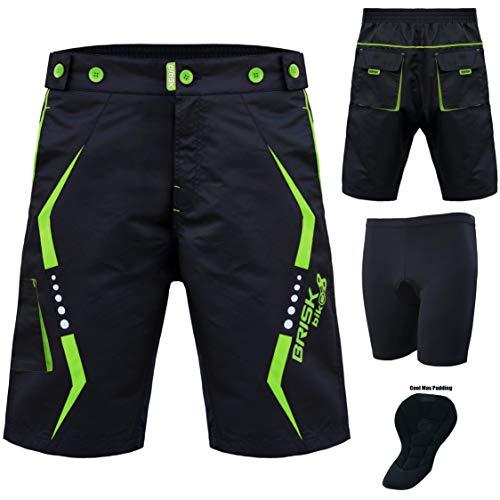 Brisk VTT Shorts, Coolamax rembourré, Doublure intérieure Amovible, Free Style Taille Adulte (Noir, Vert, Medium)