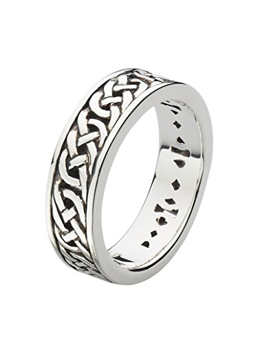 Heritage Sterling Silver and Oxidised Ladies Celtic Wedding 5mm Band Ring, 2264HPL