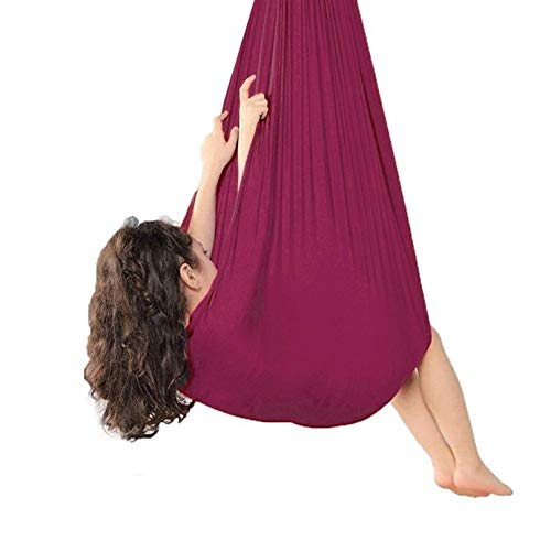 ZHJIUXING SF Hanging Chair Stand,Indoor Physical Therapy Swing Reversible Therapy Swing for Children with Autism ADHD Sensory Integration Breathable Cuddle Hammock, Wine Red, 100x280cm-39x110in