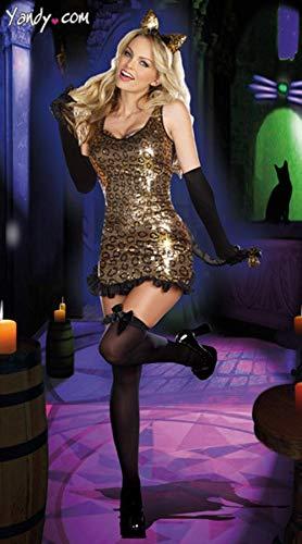 MEN.CLOTHING-LEE Ropa de Dormir para Mujer Corsés para Mujer Ropa de Anime Cosplay Sexy Uniforme de Lentejuelas Club Catwoman Disfraz Halloween Disfraz-Estampado de Leopardo Talla única