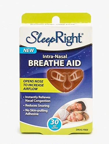SleepRight Intra-Nasal Breathe Aid Nasenspreizer Atmungshilfe bei verstopfter Nase und gegen Schnarchen, erweitert sanft die Nasenwege, wiederverwendbar bis zu 15 Tagen, einfach zu reinigen