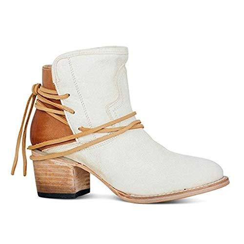 Botas de Nieve Mujer Classic Boot Mujer Botas Cortas al Tobillo Mujer Botas de tacón Botas Estilo Motero Mujer