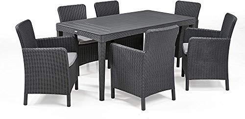 El diseño elegante combinado con los efectos de la vid circular superior y el efecto de pizarra, la mesa al aire libre puede acomodar a 6 personas,Grey
