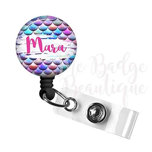 Mermaid Badge Reel, Custom Retractable ID Tag, Personalized Cute Nurse Gift, Swivel Alligator Clip, 34in. Nylon Cord, Medical MD RN Badge ID Holder, Badge Pull, Office Employee Name Tag