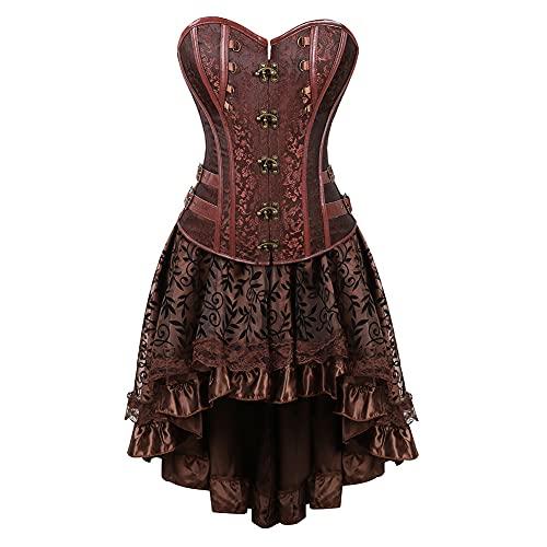 Baiomawzh Damen Vintage Corsagenkleid Korsett Damen Steampunk Rohroberteil Vollbrust Corsagen Kleid Spitze Gothic Kostüm Burlesque Kunstleder...