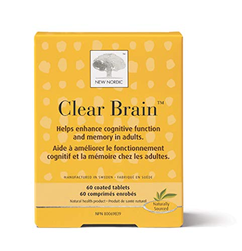 New Nordic Clear Brain, 60 Tablets Cognitive Health & Memory Supplement with Green Tea and Walnut, Naturally Sourced Ingredients