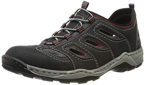 Rieker Herren 08065-00 Slip On Sneaker, Schwarz (Schwarz/Rauch 00), 43 EU