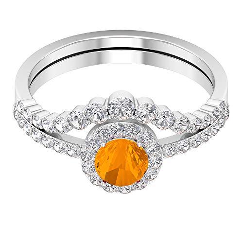 Anillo de compromiso de zafiro naranja creado con potenciador de diamantes de 1,25 CT (zafiro naranja creado de forma redonda de 5 mm), 14K Oro