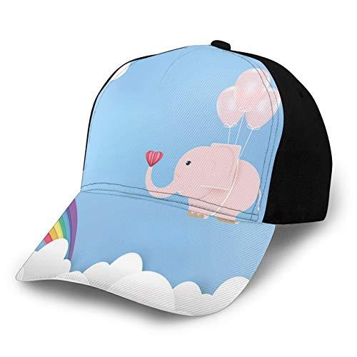 Sommer-Baseballmütze Unisex Schnelltrocknende Baseballmützen,Nursery Graphic Elephant with Balloons and Rainbow On Sky, Verstellbarer Sonnenhut für Outdoor-Sportarten