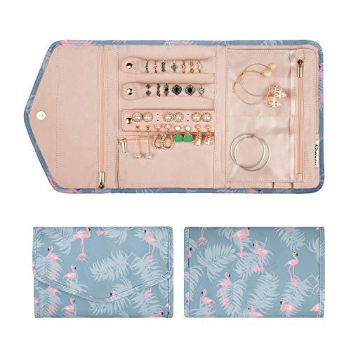 Narwey Travel Jewelry Organizer Case Roll Bag Accessories for Women Jewelry Storage (Flamingo)