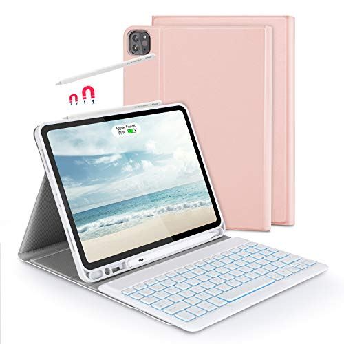 Bluetooth Backlit Keyboard Case with Touchpad Mouse for iPad 10.2 2019 / iPad Air 3 / iPad Pro 10.5, Jelly Comb Removable Keyboard QWERTY UK Layout with Protective Case, Rose and Gold