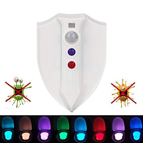 GEYKY Luz Nocturna Killing Germs Mold Batteri Virus Luce UV LED WC Luce Corpo movimento attivato sedile 8 Colori sensore lampada bagno illuminazione
