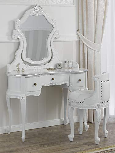 SIMONE GUARRACINO LUXURY DESIGN Coiffeuse avec Tabouret Esmeralda Style Baroque Moderne Blanc laqué et Feuille Argent Similicuir Blanc Boutons Crystal SW