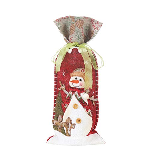 Amosfun Weinhülle mit Schneemann Muster für Champagnerflaschen, Geschenktüten für Weihnachten, Party, Esstisch, Dekoration