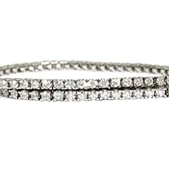Idea Regalo - Never Say Never Bracciale Tipo Riviere di Diamanti e Oro Bianco 18 kt con Diamanti Bianchi o con Diamanti Neri per Uomo e Donna. e Oro Bianco, Colore: Diamanti Bianchi, cod. 967B7315