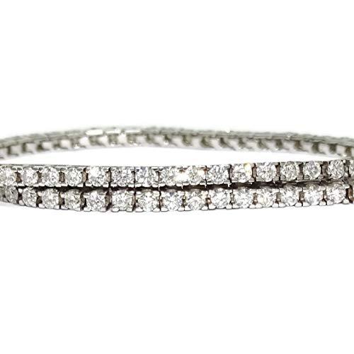 Never Say Never Pulsera Tipo Riviere de Diamantes y Oro Blanco de 18k con Diamantes Blancos o con Diamantes Negros. (Diamantes Blancos, 18.00)