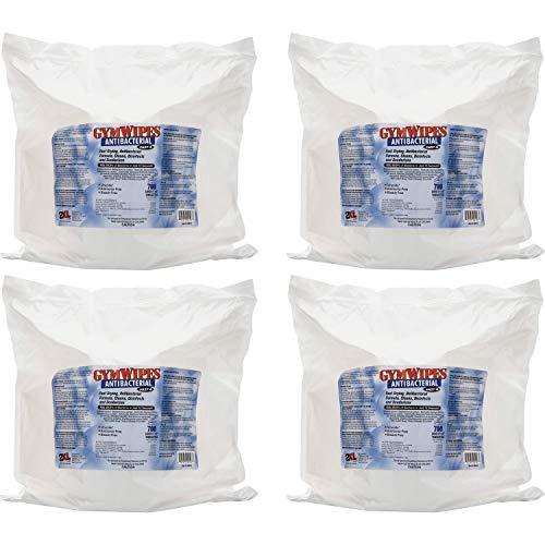 2XL, TXLL101CT, GymWipes Antibacterial Towelettes Bucket Refill, 4 / Carton, White