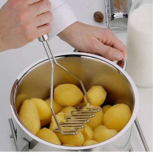 Angoter 1PCS Edelstahl-Küche-Gadget Kartoffelstampfer Press Kochwerkzeug Kartoffelbrei Wellenförmige Druck Ricer Küchenzubehör