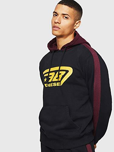 Diesel Brandon Hoodie Sweatshirt Camiseta de Pijama, Negro, XL para Hombre