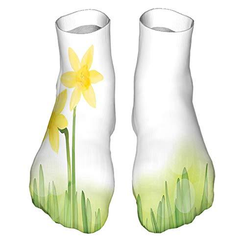 Calcetines casuales divertidos para hombre y mujer, diseño de flores de narciso en hierba