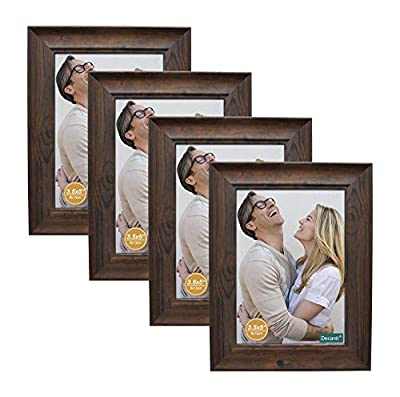 decanit 3.5x5 Picture Frames Rustic Distressed Brown Wood Pattern High Definition Glass for Table Top Display and Wall Mounting Photo Frame?Pack of 4