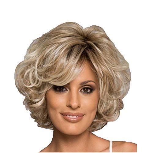 Perücke aus Echthaar, blond, für Damen, gemischte gesunde Kunstfaser, mit Seitenteil, natürliche tägliche Verwendung