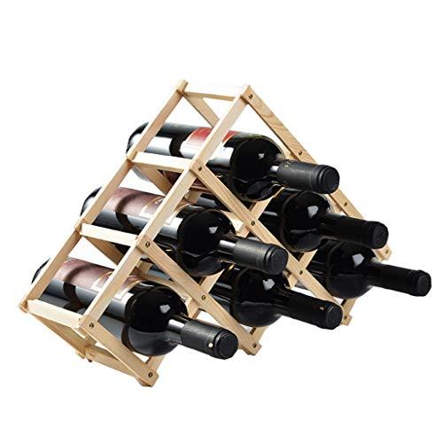 HiiGlife Massivholz-Weinflasche Rack-Dreieck FALTDISPLAYS Haushaltsweinregal Weinklimaschrank Dekoration Regal Weinglas Rack-Wein-Halter (Color : Wood Color)