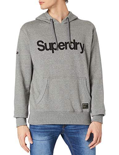 Superdry Mens Military Graphic UB Hood Hooded Sweatshirt, Grey Grit, XL