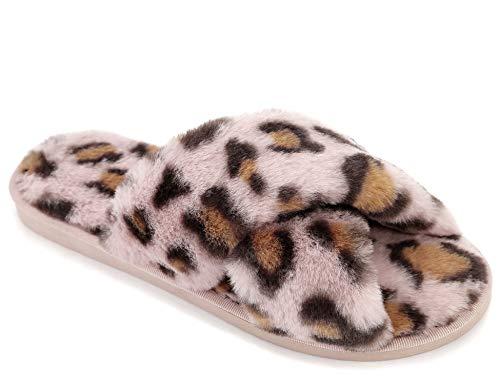 Greatonu Zapatillas de estar por casa para mujer con banda cruzada, suaves, cómodas, con dedos abiertos, para interiores y exteriores, para invierno, color, talla Large