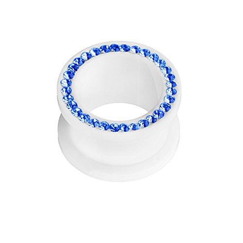 Taffstyle Túnel dilatador para la oreja, tapón de rosca, plástico blanco con cristales de colores, 16 mm, color azul